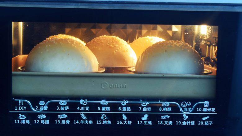 猪排汉堡包,放入预热好的烤箱,上下火160度,中层烤20分钟,烤至表面上色均匀即可