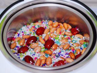 红枣花生五彩饭,把所有的食材平铺好以后。