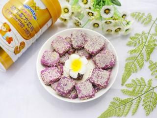 香甜软糯的奶香紫薯芝麻方饼