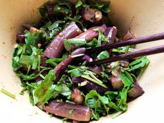蒜蓉茄子芝麻菜,搅拌均匀,即可