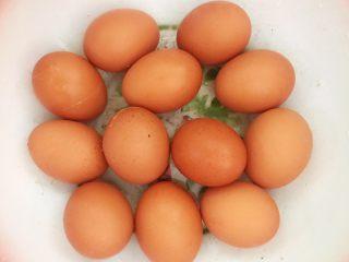 自制五香茶蛋,土鸡蛋放入盆里
