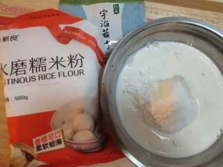 糯米糍,二,糯米皮 把糯米粉,玉米淀粉,牛奶,白砂糖放入一个大盆搅拌均匀