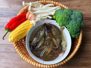虾仁炒西兰花,食材合影