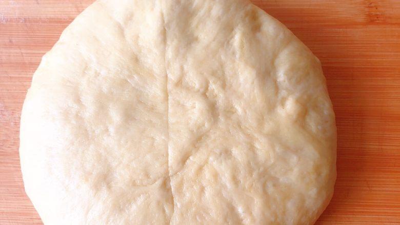 双色奶油奶酪小吐司,发酵好的面团排气,按扁分成6份