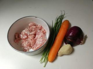 洋葱胡萝卜烧肉圆,准备好食材