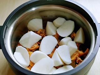 白萝卜汽锅鸡,把切好的白萝卜摆放在鸡块上面。