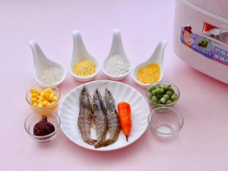 海虾时蔬双米粥(宝宝辅食),首先备齐所有的食材。