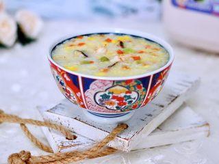 海虾时蔬双米粥(宝宝辅食),香糯软滑又营养丰富的海虾时蔬双色粥就出锅咯。