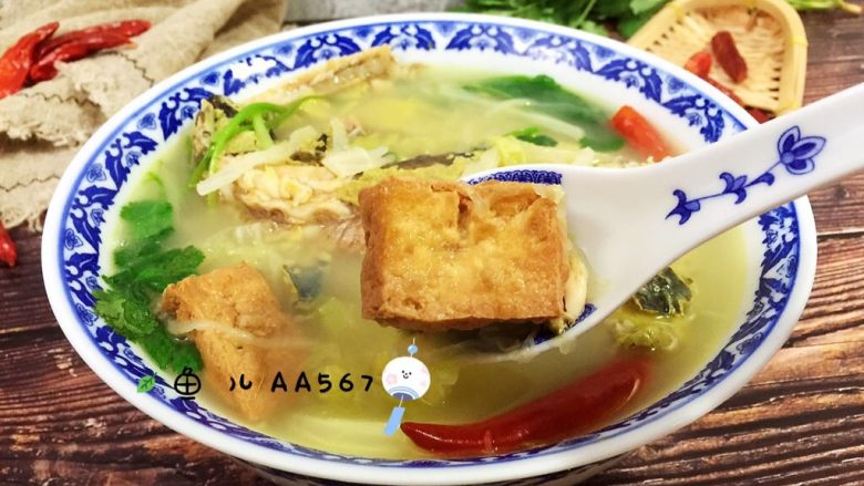 牛尾巴鱼白菜豆腐泡汤