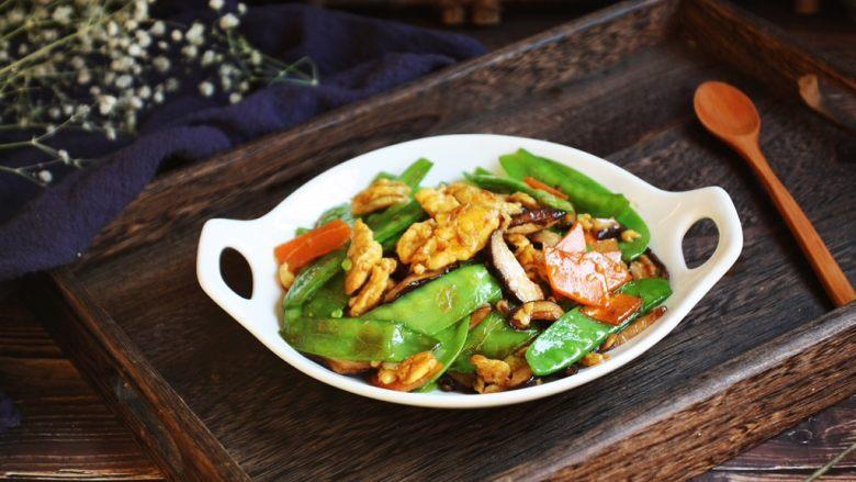 鹅蛋炒香菇荷兰豆,成品图。