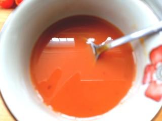 番茄虾仁西蓝花,放入白糖,醋,淀粉,水搅拌均匀备用