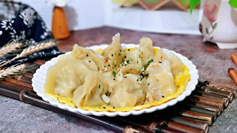 蛋抱萝卜红虾仁水饺