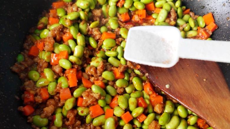 毛豆米肉酱拌面,放盐。