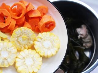 玉米海带筒骨汤,玉米、胡萝卜、姜片。