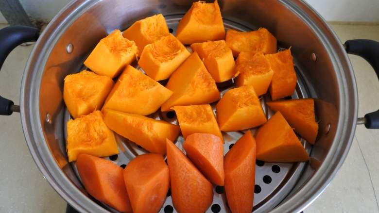 金汤肥牛,南瓜、胡萝卜切块蒸熟