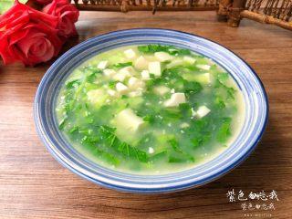 青菜豆腐汤,成品图三