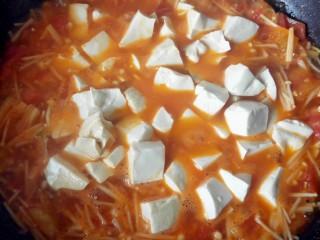 茄汁金针菇炖豆腐,放豆腐。