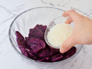 紫薯芝士饼,加入白糖