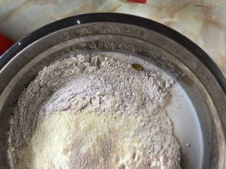 牛奶吐司,混合后用手轻轻抓匀(有厨师机的,用机器揉。)