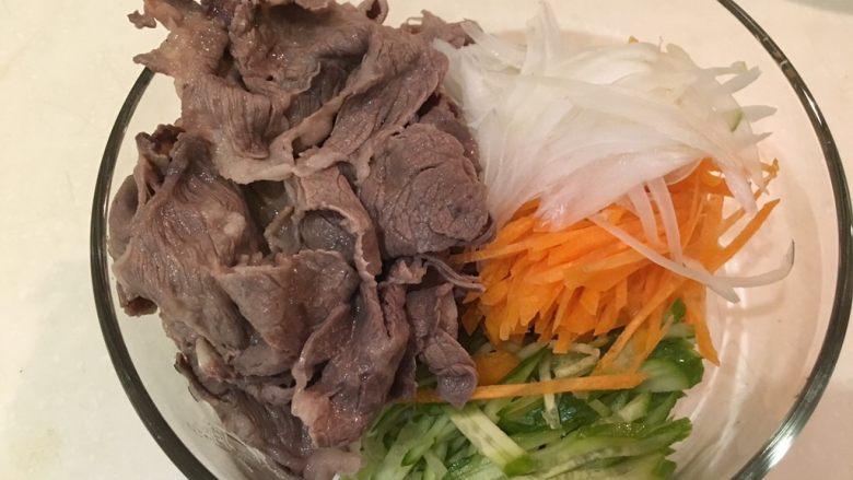 夏天的上脑-牛排沙拉,蔬菜丝跟牛肉片放大碗里