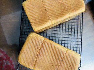 牛奶吐司,烤好后及时脱模放凉,如果想吃软一点的,温温的就可以装进保鲜袋放入冰箱。可以切片也可以撕着吃。