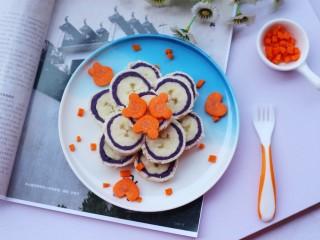 简单又快手的紫薯香蕉土司卷