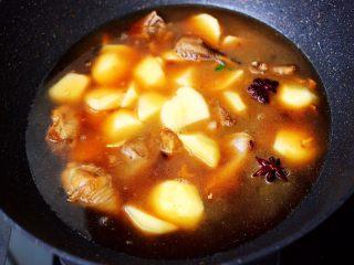 土鸡土豆粉条一锅炖,锅中倒入适量的清水。