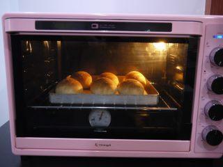 芝士小餐包,烤箱提前预热,上下火190度,中下层烘烤15分钟左右。