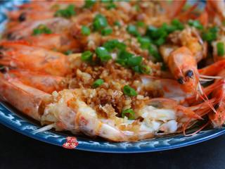 蒜蓉丝瓜蒸海虾,成品图