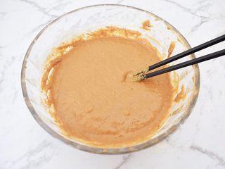 红糖发糕,搅拌至糊状