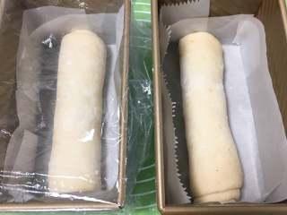 巧克力味肉松蛋糕吐司,吐司盒底部铺上烤盘纸,面团放入,盖上保鲜膜。