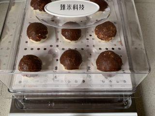 仿真蘑菇包,臻米折叠电蒸锅,加少许纯净水,把馒头摆在蒸笼里,盖好盖子,松弛15-20分钟。