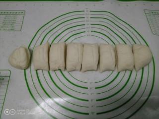 绿豆饼,发酵至2倍大,搓成长条平均分成8份
