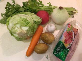 培根蔬菜汤,蔬菜+培根才香哦!