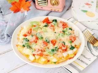 馒头披萨,蔬菜大家可以随意搭配,最好选用易熟的蔬菜!
