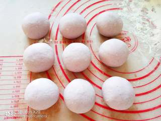 黑醋栗荷叶馍 ,分成大小均等的面剂,逐个揉光滑。