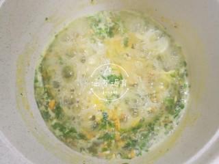 宝宝辅食-时蔬肉沫颗粒面,煮至蛋液熟了就可以关火啦!