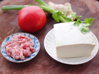 肉末番茄烩豆腐,把香菜摘洗干净、备齐所有的食材。