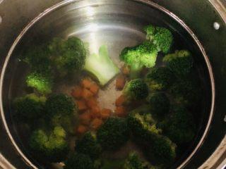 紫菜西兰花树(凉拌菜),锅内放适量水,水开后放入西兰花和胡萝卜。