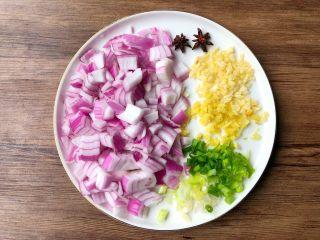 台式卤肉饭,洋葱剥掉外面的皮,清洗干净切小块,姜蒜去皮洗净切末,葱洗净切葱花,八角冲洗干净待用。