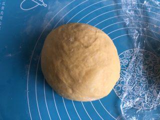 南瓜椰蓉面包,平均分成两份,滚圆后表面覆盖保鲜膜静置松弛15分钟