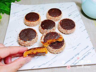 南瓜糯米夹心饼,再来一张特写镜头,金黄色软软的,特别诱人!