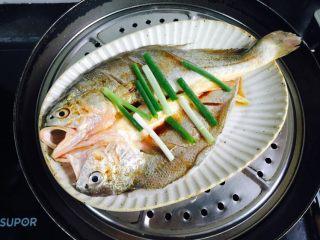 广式清蒸黄鱼,锅中加入清水大火烧开放入鱼盖上锅盖