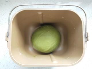 抹茶蜜豆牛奶卷,揉面结束把面团整理下放回面包桶进行第一次发酵,盖好保鲜膜,现在天气热室温发就可以