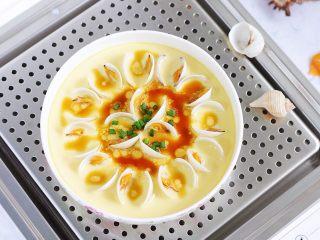 蛤蜊蒸蛋,鲜美无比的蛤蜊蒸蛋就制作完成了。