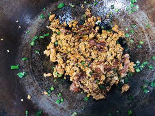经典肉末茄子,锅中再放油,油热倒入小葱和肉末,再加适量食盐和酱油,翻炒。