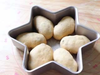 蔓越莓馅小餐包,长卷再对折,光面朝上,收口处向下放到6角模具中。