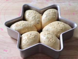 蔓越莓馅小餐包,放到烤箱里,发酵到面团膨胀约1.5倍。取出后180度预热烤箱,面包涂抹一层蛋液,撒上白芝麻。