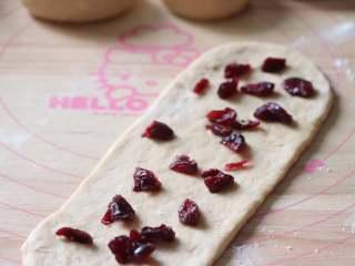 蔓越莓馅小餐包,翻面后放入蔓越莓干,稍微压一压,之后卷起,收口捏紧。