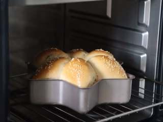 蔓越莓馅小餐包,放到预热好的烤箱中,180度烘烤25分钟。